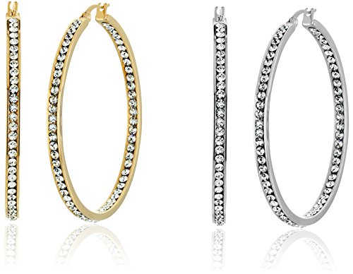 Set of 2 Silver toned and 18k Gold Plated Simulated Diamond In and Out Hoop Earrings