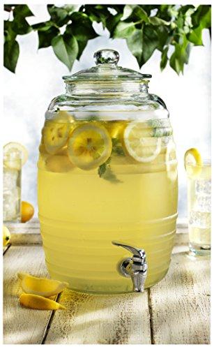 Circleware 67065/R Sedona Glass Beverage Drink Dispenser, Sedona, 2.5 gallon