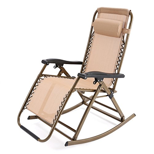 Yuebo Zero Gravity Rocking Chair Lounge Reclining Rocker Sunbed Beach Chair with Padded Head Rest, 265 Pounds Capacity, Great for Garden, Lawn, Camping, Pool, Patio, Porch, Home, Office