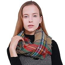 MissShorthair Plaid Tartan Infinity Scarf Soft Warm Checked Blanket Pattern