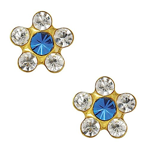 Studex Tiny Tips Clear and Sapphire Crystal 5mm Daisy Gold Plated Childrens Hypo-allergenic Stud - Motif Sapphire Earrings