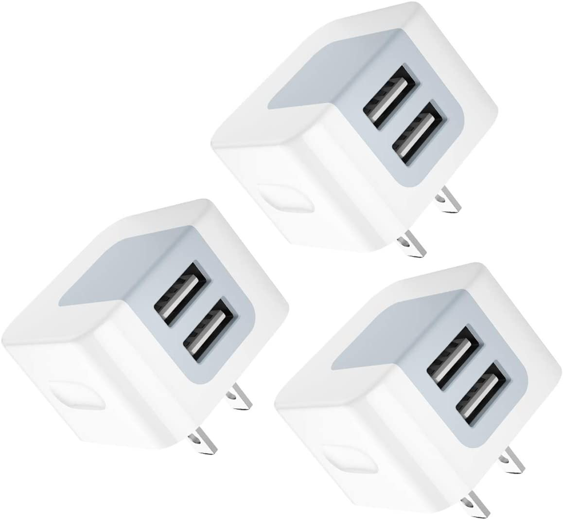 USB Wall Charger, USB Plug, 3-Pack 2.4A Dodoli Dual Port 12W Wall Charger Block Adapter Charging Cube Box Compatible iPhone Xs/XS Max/XR/X/8/8 Plus/7/6S/ 6S Plus, Samsung Galaxy, HTC, Moto
