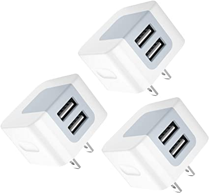 USB Wall Charger, USB Plug, 3-Pack 2.4A Dodoli Dual Port 12W Wall Charger Block Adapter Charging Cube Box Compatible iPhone Xs/XS Max/XR/X/8/8 ...