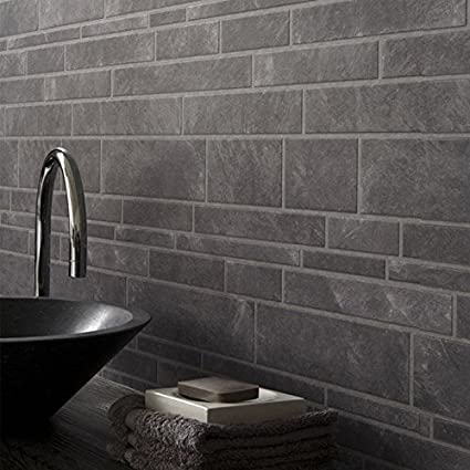 . Graham Brown Grey Slate Bathroom Wallpaper 56440  Amazon co uk  DIY