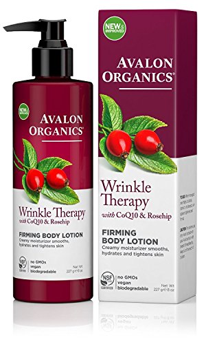 Avalon Organics Wrinkle Therapy with CoQ10 & Rose- hip Firming Body Lotion, 8 Ounce(pack of 6)