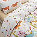 MeMoreCool Childhood Memories 100% Cotton Boys and Girls Bedding Sets,Cartoon Giraffe/Horse/Fox/Cat Duvet Cover Set,AB Version in Classic Design Beddings