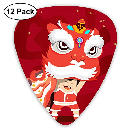 HaSaKa Chinese New Year Lion Dance Kid Guitar Pick 0.46mm 0.73mm 0.96mm 12pack,Suitable for All Kinds of Guitars Merchandise Ornament Accessory