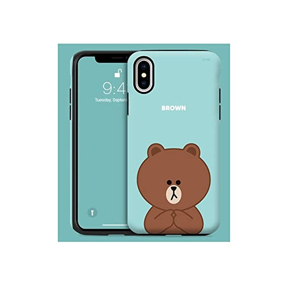 LINE FRIENDS Look at Me iPhone X Case Hard PC Case One Size (Sorry Brown)