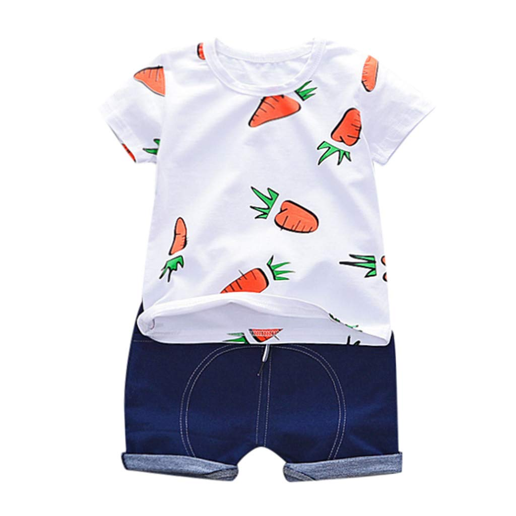 NUWFOR Toddler Baby Kids Boys Carrots T-Shirt Tops Tee Solid Short Casual Outfit Set(White,18-24 Months)