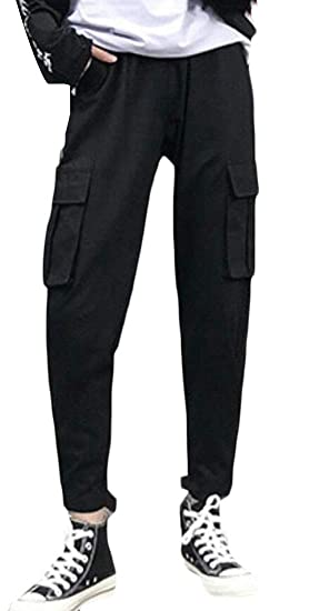 5c19cb9d07 GAGA Women Jogger Pants Multi Pockets Solid Color Casual Cargo Pants at  Amazon Women's Clothing store: