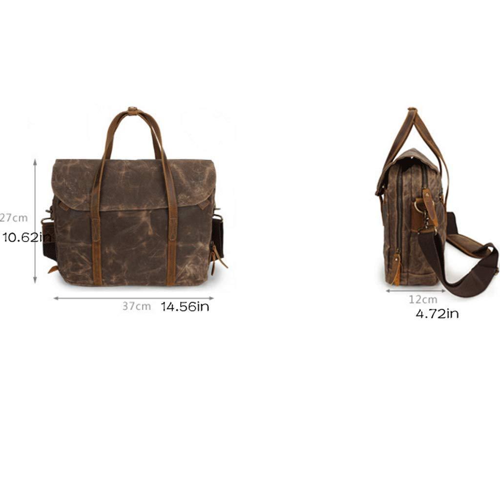 Color : Green, Size : S Documentary Handbag Mens Bag Retro Shoulder Messenger Bag