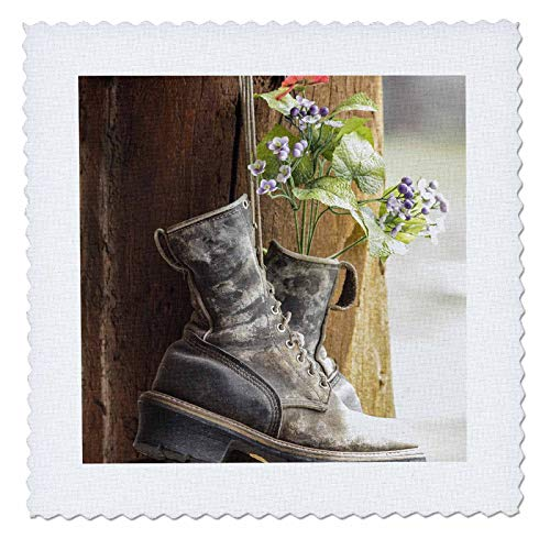 3dRose Danita Delimont - Decor - Old boots used a decoration, Pagosa Springs, Colorado, United States. - 14x14 inch quilt square (qs_314749_5)