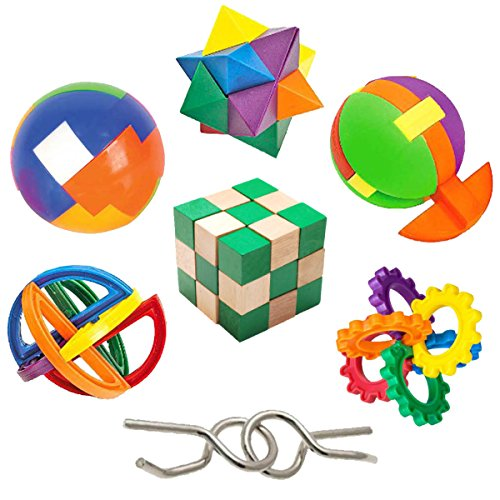 IQ Challenge Set by GamieUSA - 7 Pcs Kids Educational Toys for 5 Year Olds - Highly Stimulating Brain Teasers - Challenging Mental Exercises for Sharp Young Minds - 100% Child Safe (Childrens Educational Toys)