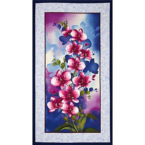 Premium Cotton - Benartex Orchid Shadows: Orchid Panel - Blue 880-55