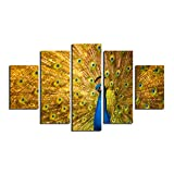 HappyHouseArt 5 Panel Large Hd Printed Oil Painting Peacock Canvas Print Home Decorative Wall Art Pictures for Living Room No Frame