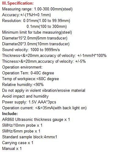 Gowe Ultrasonic Thickness Meter, Smart Sensor Measuring Range: 1.00-300.00mm(steel)