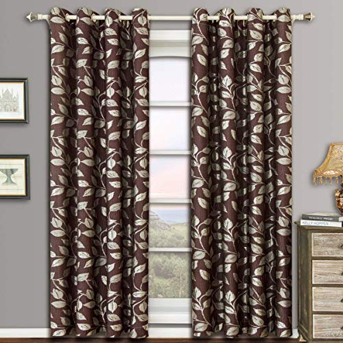 Charlotte Chocolate Grommet Jacquard Window Curtain Panels, Pair / Set of 2 Panels, 52x63 inches Each, by Royal Hotel