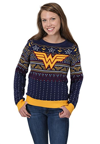 Wonder Woman Navy Women's Holiday Sweater Large (Large Image)