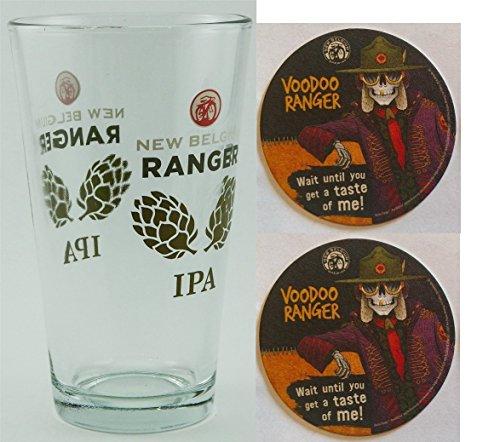 New Belgium Brewing Ranger IPA 1 Beer Pint Glass & 10 VooDoo Ranger Beer Bar Pub Coasters