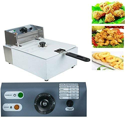 Enshey Countertop Fryer-5.5L Electric Countertop Deep Fryer Commercial Basket Electric Fry Restaurant 2500W Shipping from USA