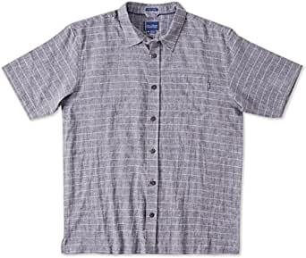 O'Neill Mens Jack O'Neill Regatta Button Up Short-Sleeve Shirt Large Grey