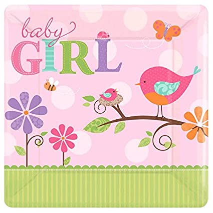 Amazon Amscan Tweet Girl Baby Shower Party 10 Square Plates