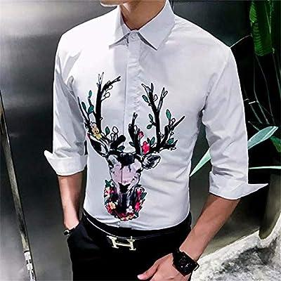 OBHDGVWN Camisa de Hombre, Manga Larga, algodón, Guapo, de Siete Mangas, para Hombre, Camisa de Corte Slim Impresa Ultra Delgada Delgada @ style3_XXL: Amazon.es: Deportes y aire libre