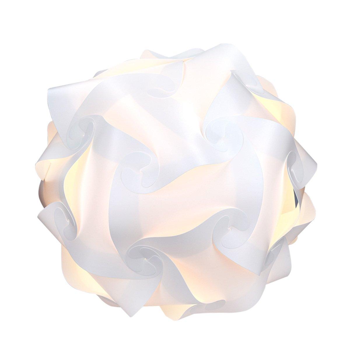 kwmobile Lampe puzzle abat-jour - Luminaire IQ plafond ou chevet - Lumière blanche - Taille M - Montage 30 pièces 15 modèles - Diamètre env. 27 cm KW-Commerce 41359_m000096
