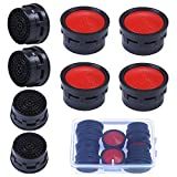 Elcoho 8 Pieces Faucet Aerator Replacement Parts Flow Retrictor Insert Replacement Faucet Aerators with Storage Box (8)