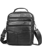 SPAHER Men Leather Handbag Shoulder Bag IPAD Business Messenger Backpack Crossbody Casual Tote Sling Travel Bag with Top-Handle and Adjustable Removable Detachable Shoulder Strap Large Size Black