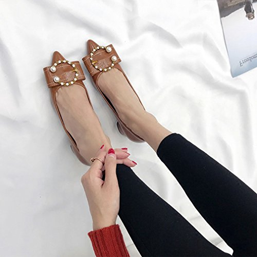 Giy Mujeres Classic Pointed Toe Pump Mocasines Slip-on Plataforma Hebilla Block Heel Comfort Dress Loafer Shoe Brown
