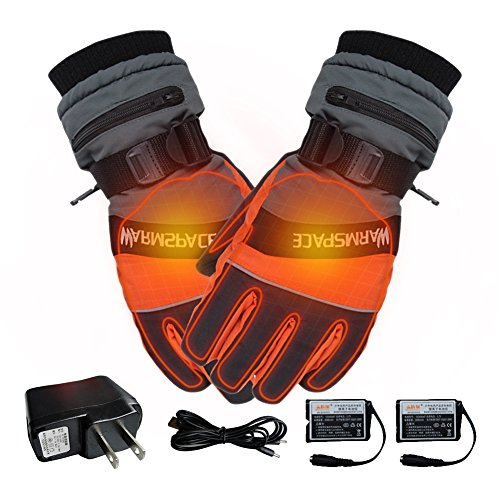 Winter Outdoor Electric Heated Gloves, USB Hand Fingers Warmer Thermal Ski Glove Battery Rechargeable Cycling Motorcycle Bicycle Work Gloves For Men Women - Orange