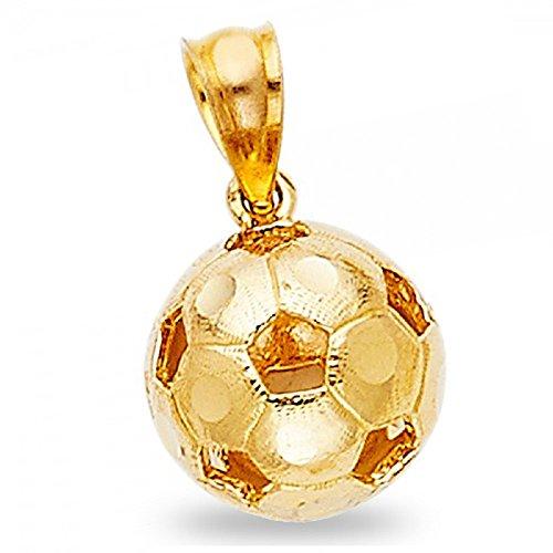 14k Solid Gold Soccer Ball - Soccer Ball Pendant Solid 14k Yellow Gold Sports Charm Genuine Diamond Cut Design Fancy 9 x 9 mm
