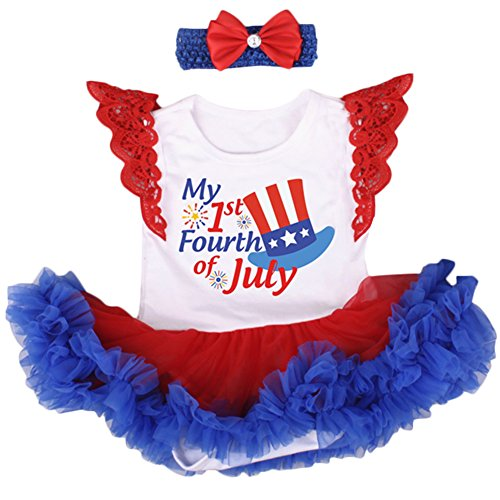 IBTOM CASTLE Baby 4th of July White Red Bodysuit Tutu Outfit #3-White Hat Sleeveless (2PCS) 3-6 Months ()