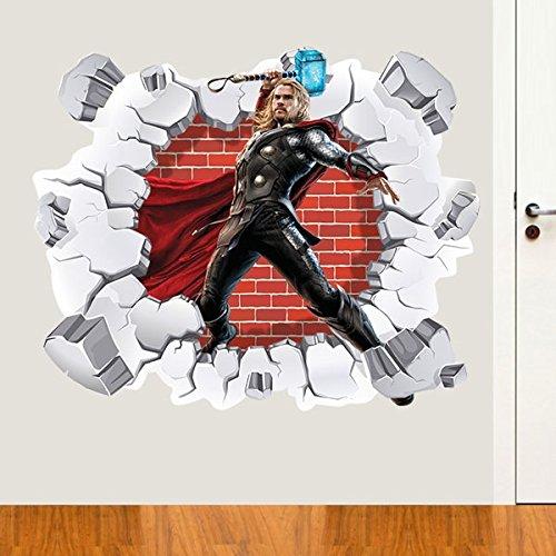 Adesivo de Parede Buraco Falso Thor 3D - G 82x100cm