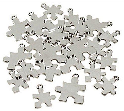 Silvertone Puzzle Piece Charms Autism Awareness 2 Sizes - 24 Pieces