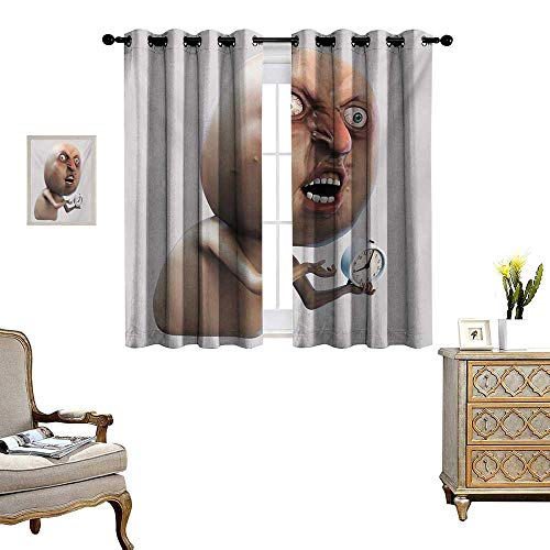 Humor Blackout Window Curtain Why You No Wake Me Up Internet Meme with Complaining Oversleep Face and Watch Image Print Customized Curtains W63 x L45 Tan