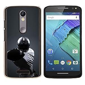 KLONGSHOP // Cubierta de piel con cierre a presión Shell trasero duro de goma Protección Caso - Minimalista fútbol - Motorola Moto X3 3rd Generation //
