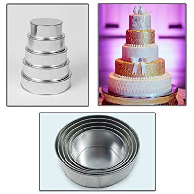 "5 Tier Round Multilayer Wedding Birthday Anniversary Baking Cake Tins Pans - 6"" 7"" 8"" 9"" 10"" - EUROTINS"