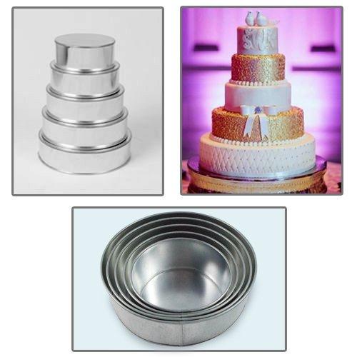 5 Tier Round Multilayer Wedding Birthday Anniversary Baking Cake Tins Pans - 6