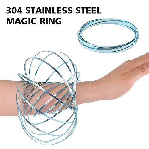 HAS HAPPINESS AND SURPRISE Towerin 304 Stainless Steel Firm Flow Ring Magic Bracelet Toy for Stress Relief Kinetic Science Educational Spring Ring Multi - Sensory Interactive Cool Dance Prop 1PCS
