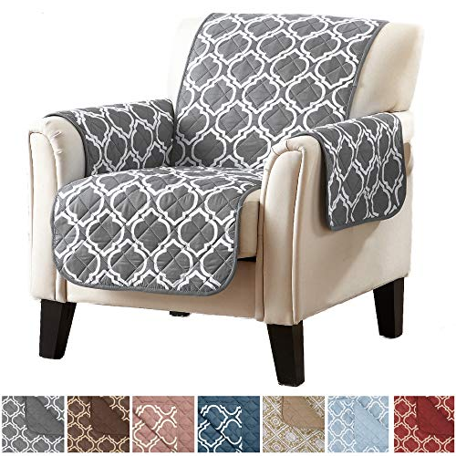 Home Fashion Designs Adalyn Collection Deluxe Reversible Quilted Furniture Protector. Beautiful Print on One Side/Solid Color on The Other for Two Fresh Looks Brand. (Chair, Charcoal) -
