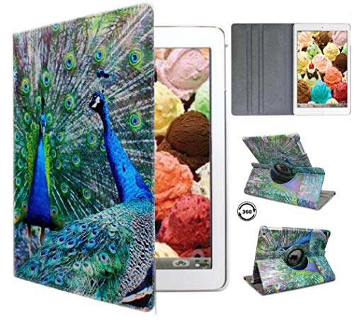 Ipad Case 360 Degrees Rotating Stand Leather Magnetic Smart Cover Case for Apple Ipad 2 / 3 / 4 Generation Case with Bonus Screen Protector, Stylus and Cleaning Cloth ( Color peacock Designs case )