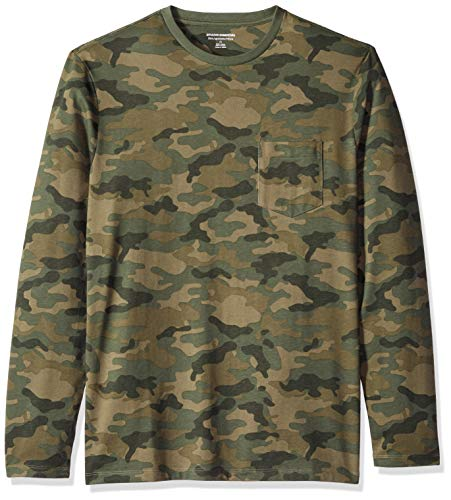 (Amazon Essentials Men's Slim-Fit Long-Sleeve Pocket T-Shirt, Camo Print, Large)