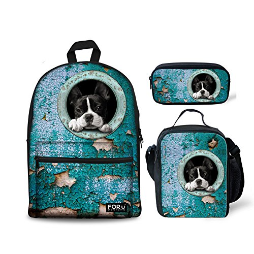 (FOR U DESIGNS Backpack Children Boys Girls Middle School Bags Set with Lunch Box Pencil Holder Bulldog Face)