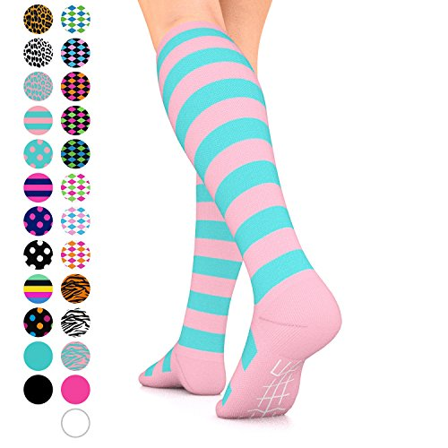 - Go2Socks GO2 Compression Socks for Women Men Nurses Runners 15-20 mmHg (Medium) - Medical Stocking Maternity Travel - Best Performance Recovery Circulation Stamina (PinkTurquoiseStripe,M)