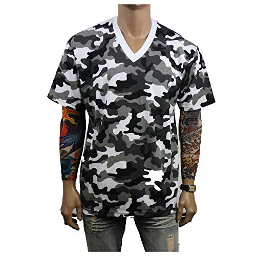 - 90210 Wholesale Men's Heavy Weight V-Neck T-Shirt Lot Blank Plain Tee Basic Big & Comfy Camo S-5X (City Camo, 4XL)