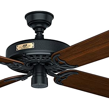 Hunter 23845 original 52 white ceiling fan with five white blades hunter fan 52 outdoor ceiling fan in black with 5 reversible walnut fan blades aloadofball Choice Image