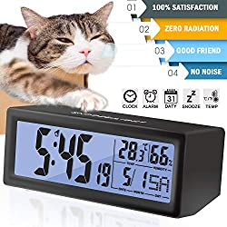 Alarm Clock for Bedroom Travel Digital LCD Clock Snooze Touch Sensor Battery Operated Alarm Clock for Kids Heavy Sleepers Large Display Time Date Month Temperature Fits Bedroom Office Dormitory