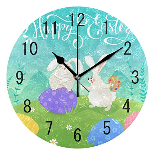 ALAZA Home Decor Happy Easter Egg Cartoon Rabbit Bunny Round